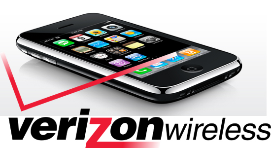 Image of an iPhone with the Verizon logo beneath it
